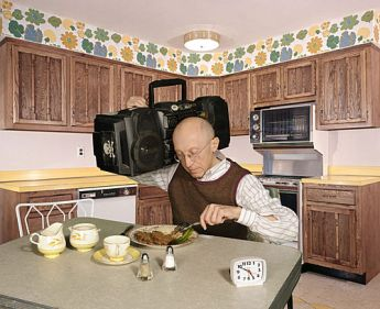 Boombox old man eating
