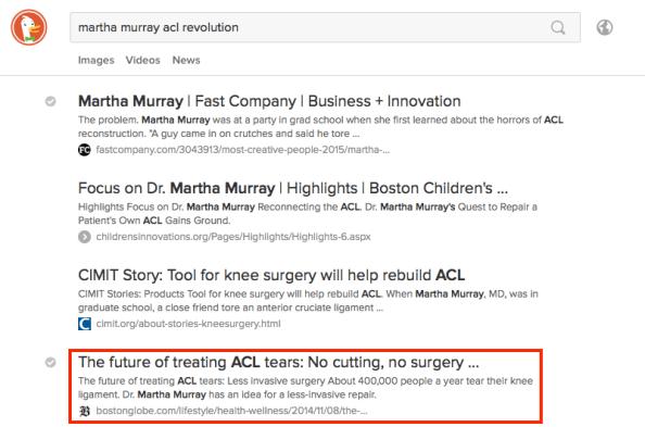 Boston Globe No Cutting No Surgery ACL