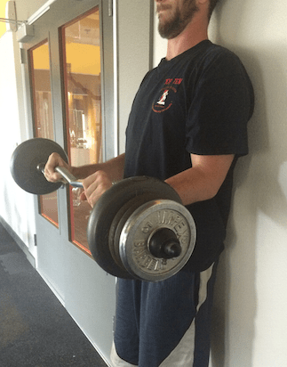 Pronated grip barbell curl