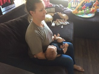 Feeding baby upright