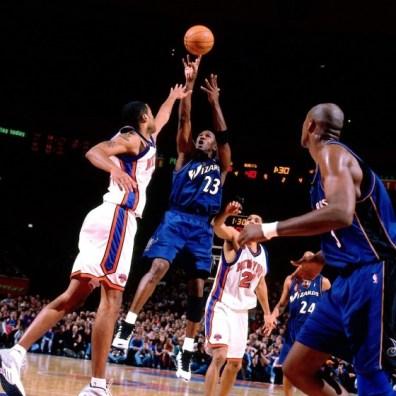 Michael Jordan au shoot pour les Washington Wizards vs New York Knicks 2 (c) Getty