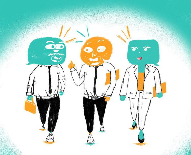 Description: The image uses contrasting colours of teal and orange, drawn in a whimsical manner, with the people having speech bubbles for faces. Three persons are walking along in their office attire, all in pant suits with two of them dressed with a tie, having a chat. Everyone seems engaged and happy to be involved in the conversation.
