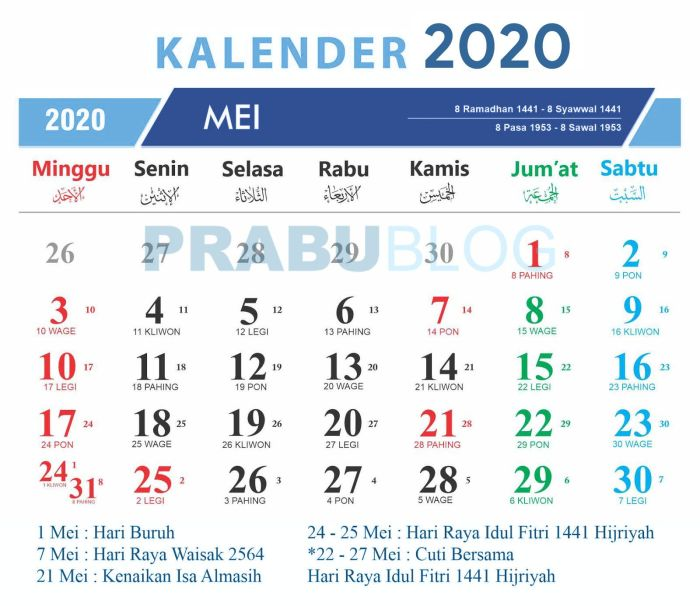 mei 2020 tanggal nasional dan jawa pasaran
