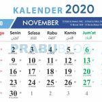 kalender november 2020 nasional dan pasaran jawa