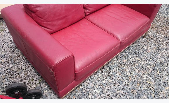 Sofa 2 Places Leather Red Ikea Furniture And Decoration