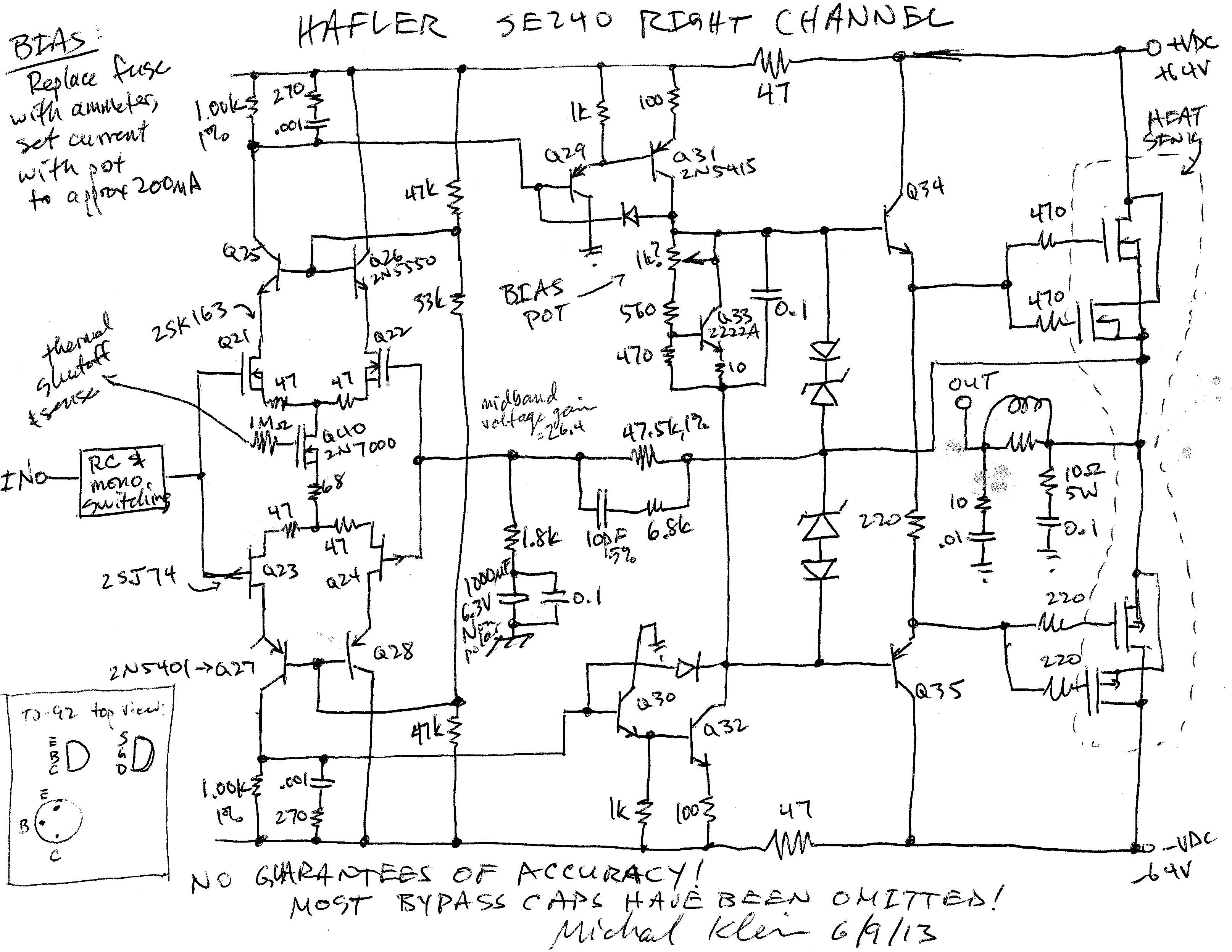 Simple High Watt Fet Amplifier Circuit Diagram