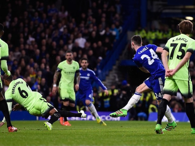 Gary Cahill scores during the FA Cup game between Chelsea and Manchester City on February 20, 2016