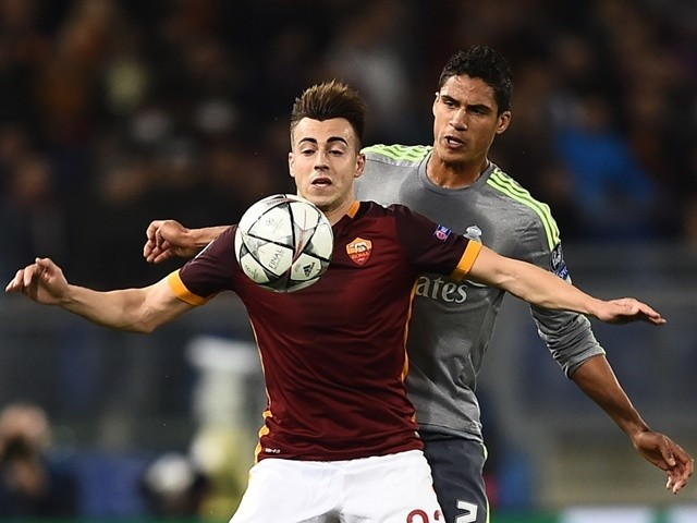 Roma's Stephan El Shaarawy vies with Real Madrid's Raphael Varane during the Champions League match on February 17, 2016
