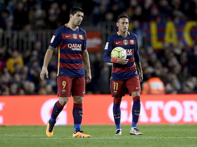 Luis Suarez and Neymar are unhappy at not winning during the La Liga game between Barcelona and Sevilla on February 28, 2016