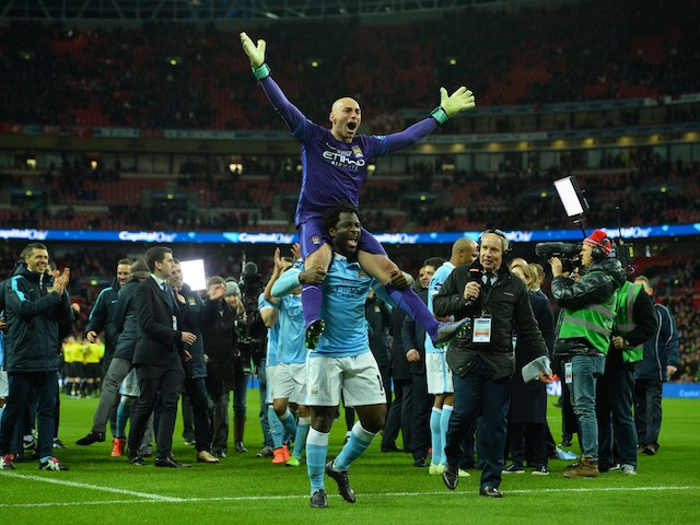 Willy Caballero rides Wilfried Bony during the League Cup final between Liverpool and Manchester City on February 28, 2016