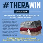 Win a Therapedic Electric Heated Silky Plush Throw Blanket {US} (11/20/2017)