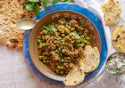 Lamb Keema Curry With Gluten-Free Chapati Low-Carb, Grain-Free - This gluten-free chapati is made with chickpea flour and arrowroot flour, so the chapati is grain-free and high in protein.