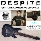 Schecter C8 Deluxe autographed 8-string guitar, sterling silver vampire skull ring from Seventh Circle Artworks, £100 gift card from Vapemate, Despite 'Synergi' tee shirt, autographed 'Synergi' CD, and Despite limited-edition guitar pick (5/31/2017) {US}