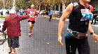 Grandma gives high-fives at marathon
