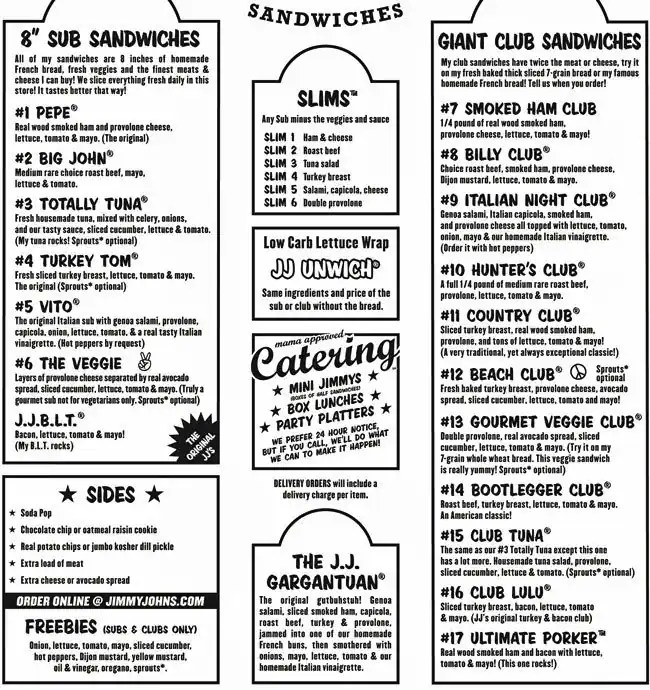 image relating to Jimmy Johns Menu Printable known as All concerning Faceb Jimmy Johns Menu -