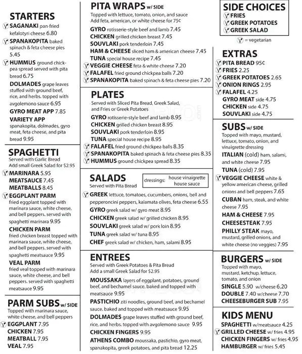 Greek Restaurant Food Menu
