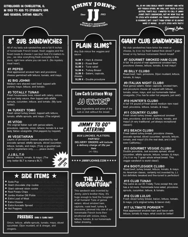 graphic relating to Jimmy Johns Printable Menu titled All with regards to Faceb Jimmy Johns Menu -