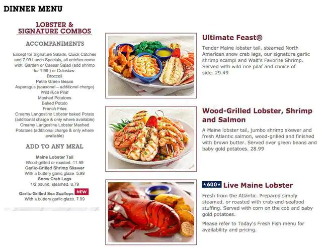 red lobster printable menu pricing