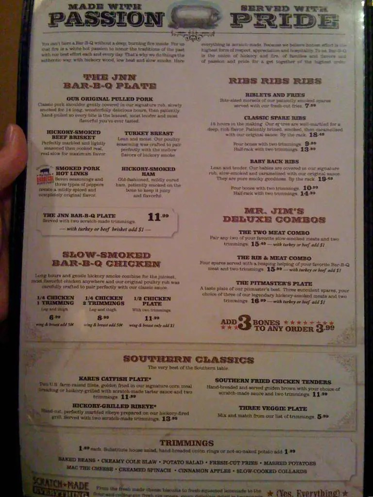 Jim N Nicks Menu