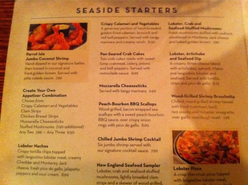 Lunch Menu Red Lobster