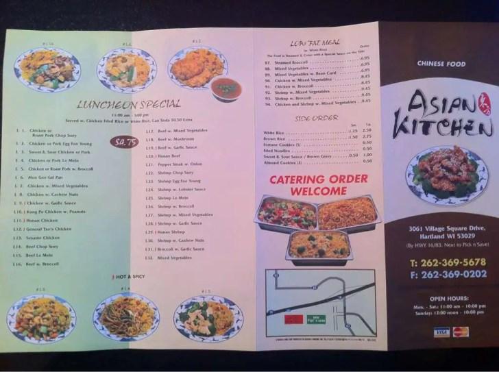 Asian Kitchen Menu Hartland Milwaukee