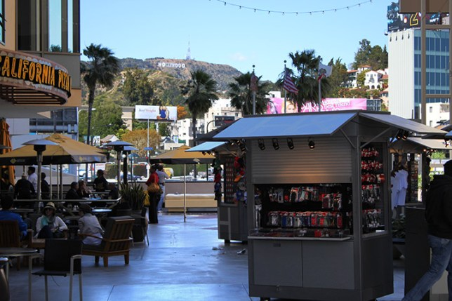View of the Hollywood sign from the gate at Babylon Court Yard