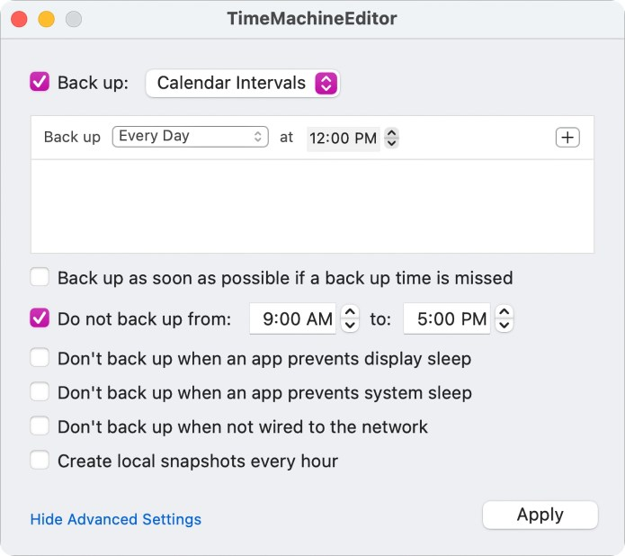 TimeMachineEditor scheduler