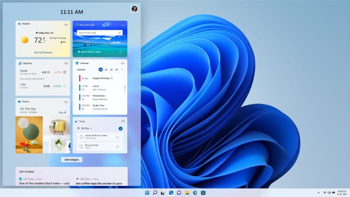 Windows 11 Widgets menu