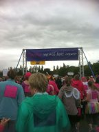 The rain stops! Starting line - together we will beat cancer