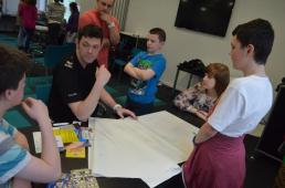 Sgt Karl Pierpoint talks to young people about their ideas
