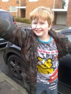 Sally Humpage's son, William (10) was told to dress as his hero for Turves Green Junior School - his hero is Pudsey the bear!