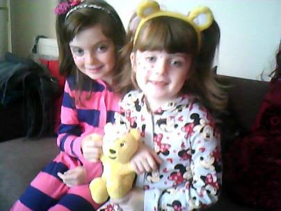 Claire Spencetaggart's daughters in their onesies this morning for Beaconside School, Rubery