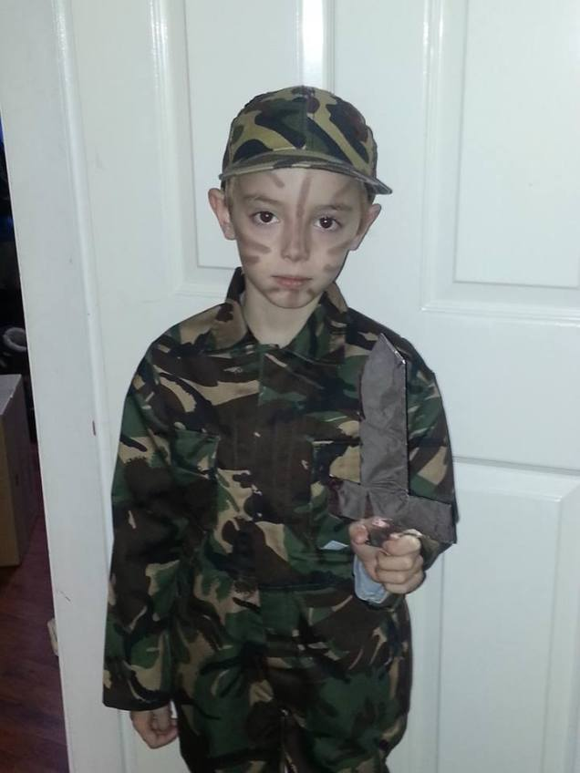 Dawn Hunter sent this of Miles ready for hero day at Turves Green Juniors... eek! :)