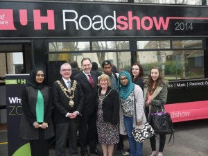 Lord Mayor of Birmingham, Councillor Mike Leddy and Lady Mayoress, Mrs Pauline Leddy with Jeremy Rogers, Cadbury College Principal and Cadbury College students.