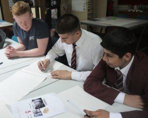 Kings Heath Boys' pupils work alongside a Cadbury College students at the 3D workshop