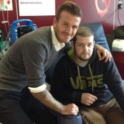 Lee meets David Beckham at the Teenage Cancer Trust's YPU at the QE
