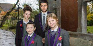 ARK Rose Primary and ARK Kings Academy pupils at St Nicolas' War Memorial in Kings Norton