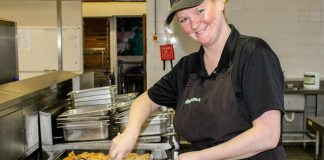 Linda Dennington, Deputy Cook at ARK Kings Academy, prepares lunch for 300 hungry students and staff