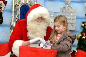 Youngsters queued to meet Santa when he opened the doors of his igloo at Northfield Shopping Centre. The busy shopping centre has been transformed into the North Pole, with animated winter wildlife and Eskimos helping Santa to  greet children Santa with Chloe Ward (4) from Northfield