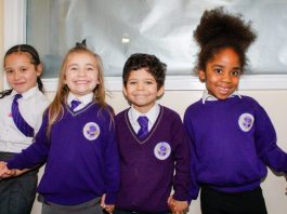 Pupils from ARK Rose Primary Academy linking arms