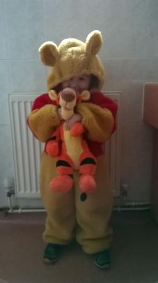 Oscar 3 in his uncle's 15 year old Winnie the Pooh outfit!