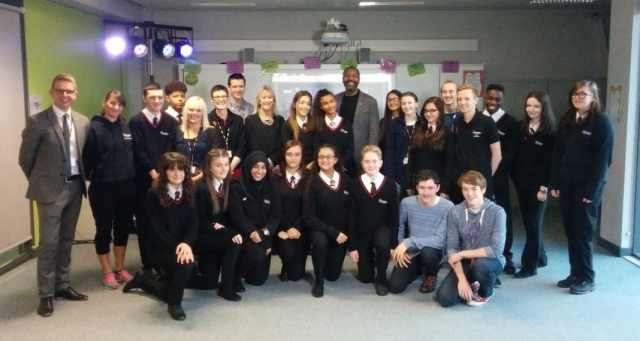 Shenley Academy students & staff with Sir Lenny Henry