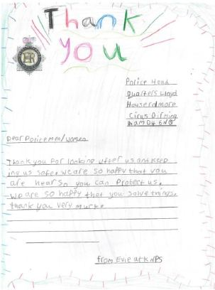 One of the lovely thank you letters from pupils