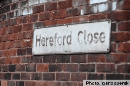The incident appears to have taken place in an alley between Hereford Cl and Blackdown Cl