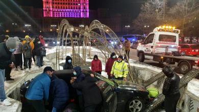 Photo of Fântânile arteziene de la Unirii, magnet pentru șoferi? Două accidente spectaculoase în câteva ore
