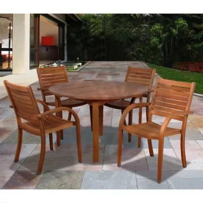 amazonia arizona 5 piece round eucalyptus wood outdoor patio dining set