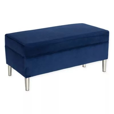 navy storage ottoman bed bath beyond