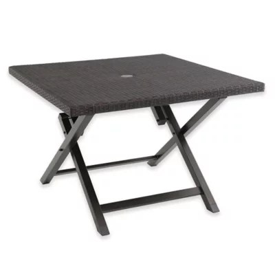 all weather wicker 42 inch square folding patio table