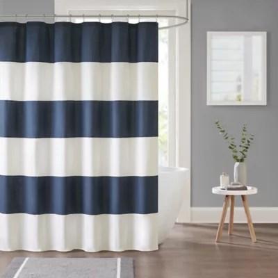 parker stripe shower curtain in navy bed bath beyond