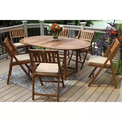 outdoor interiors 7 piece eucalyptus wood folding patio set